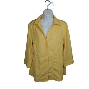Laura Tailored Button Down Blouse, Yellow, XL